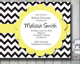 Chevron Bridal Shower Invitation Yellow Gray