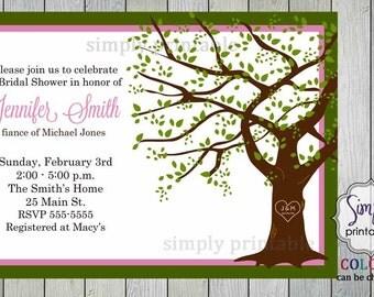 Pink Green Bridal Shower Invitation