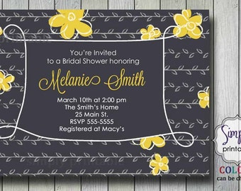Yellow and Gray Bridal Shower Invitation