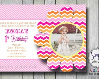 Pink Orange Chevron Girls Birthday Invitation