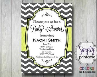 Yellow Chevron Baby Shower Invitation