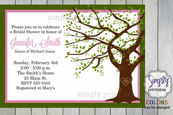 Pink Green Bridal Shower Invitation