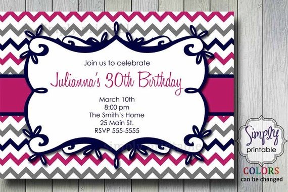 Chevron Birthday or Shower Invitation (Pink Grey)