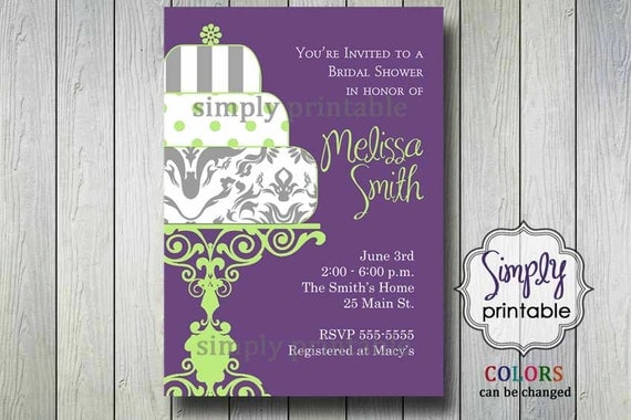 Bridal Shower Invitation Purple Lime Green