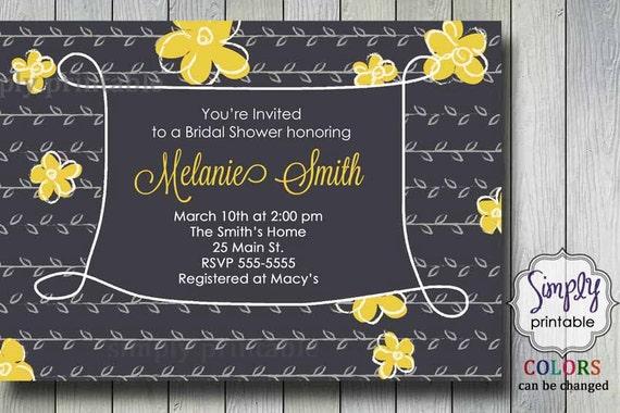 Yellow and Gray Bridal Shower Invitation