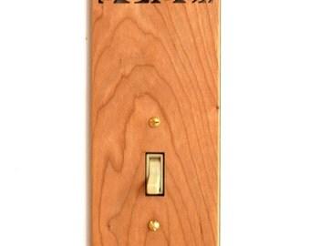 Wood Light Switch Plate - Flower
