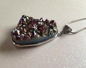 REDUCED PRICE Titanium Druzy Pendant: Rainbow Crystals, Raw Stone Jewelry