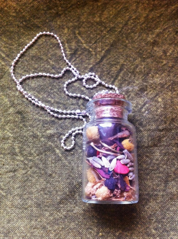 Self Love & Self Acceptance Herbal Charm Bottle Necklace
