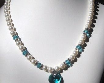 Swarovski Pearl and Crystal Necklace - White Swarovski Pearls and Lt. Turquiose Crystal Heart Set - Weddings, Brides, Bridesmaids
