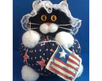 Catsy Ross - Independence Day Cat Purrsonality - Fiber Art Collectible 159