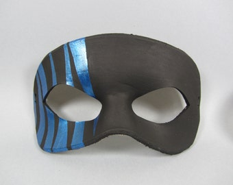 Black and Blue Striped Leather Masquerade Mask, Unisex