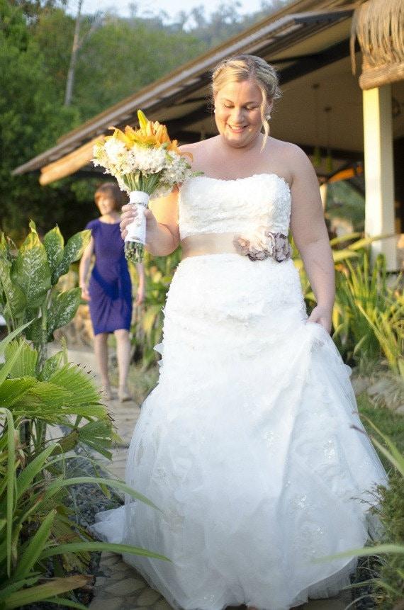 Champagne and Taupe Wedding Sash, Bridal Sash, Wedding Belt, Bridal Belt -Champagne and Taupe Flowers
