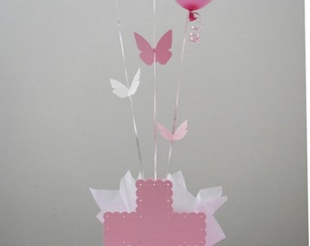 Baptism Decorations for Girls - Balloon Centerpieces with Personalized Cross & Butterfly  - Pink, Lavender and Pink, Lavender, White