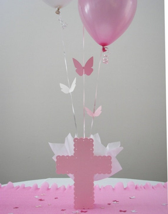 Items similar to baptism decorations for girls balloon for Balloon decoration ideas for christening