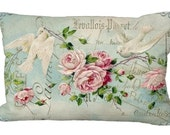 Lumbar Doves & Pink Roses Aqua Romantic Oblong  in choice of 18x12 20x13 24x16 Pillow Cover