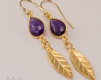 Purple Amethyst earrings - Gold Leaf Earrings - Birthstone Earrings - Gemstone earrings - Gold drop earrings - Dangle Earrings