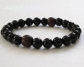 Men Bracelet Black Onyx Rosewood Beaded Bracelet Buddhist Worry Beads Chakra Jewerly Prayer Bracelet Protection Mala Beads Gift Grounding
