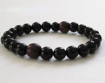 Men Wood Bead Bracelet, Mala Beads, Worry Beads, Mens Beaded Bracelet, Onyx Protection Jewelry, Rosewood Strength Crystal Chakra Bracelet