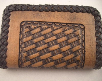 Leather Wallet or Business Card Holder, Handtooled Western Basketweave with Braided Edges