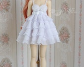 Snow white ruffle dress for MSD