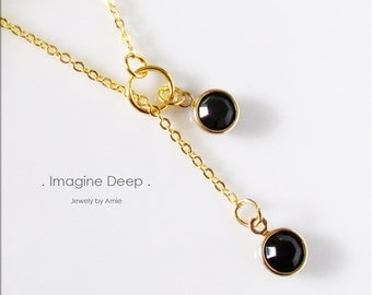 50% off SPECIAL - Black Lariat Necklace - Gold Plated Black Onyx/Obsidian-Like Swarovski Crystal