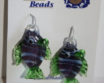Glass Fish Charms or Beads in Purple and Green
