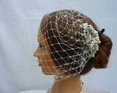 Birdcage Veil  in ivory bandeau style