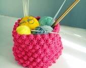 Basket Crochet pattern PDF - easy beginner PHOTO tutorial - bubble crochet container recipe for any side you prefer  - Instant DOWNLOAD