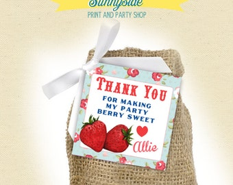 Berry Sweet / Berry Farm Birthday / Thank You Favor Tags  - Printable