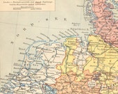 1888 Original Antique Dated Map of Prussia