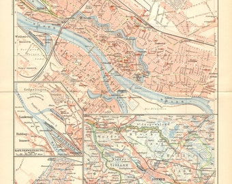 1902 Original Antique City Map of the Hanseatic City of Bremen