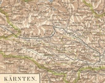 1901 Original Antique Dated Map of Carinthia, Austria