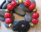 Red Coral Black Lava Vintage Style  Beaded Stretch Bracelet