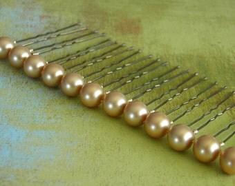 12 Vintage Gold 10mm Swarovski Crystal Pearl Hair Pins