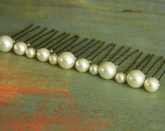 12 Ivory 6mm 8mm and 10mm Swarovski Crystal Pearl Hair Pins
