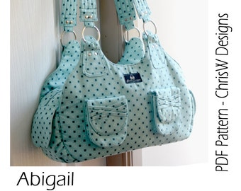 "INSTANT DOWNLOAD Handbag sewing pattern - PDF- ""Abigail"" Advanced designer Purse with lots of pockets"
