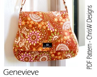 PDF Messenger bag pattern with 3 versions included in the pattern - Genevieve by ChrisW Designs - Instant download