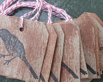 10 Chipboard Tags stamped with a Black Bird, rustic, primitive, aged look