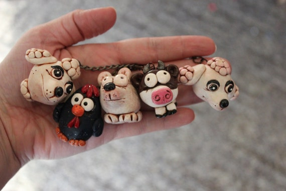 Poodle, Cow, Dog, Chicken, Bear, easter egg and chick  Animal Polymer Clay Key Chain