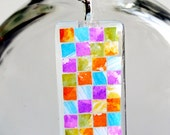 Color Mosaic Art on Glass Pendant