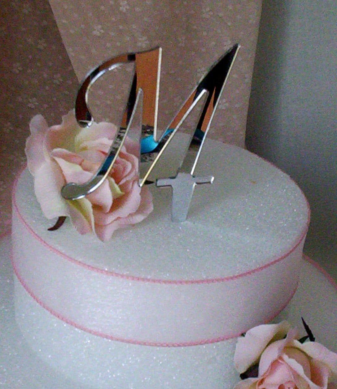 Wedding Cake Top Initial M Bridal Monogram bud