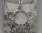 Large silver star pendant with 9  loops. Manor house jewelry making supplies