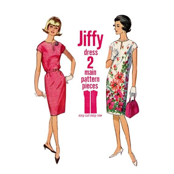 1960s Jiffy Shift Dress Pattern Simplicity 5821 Bust 34 Womens - photo#30