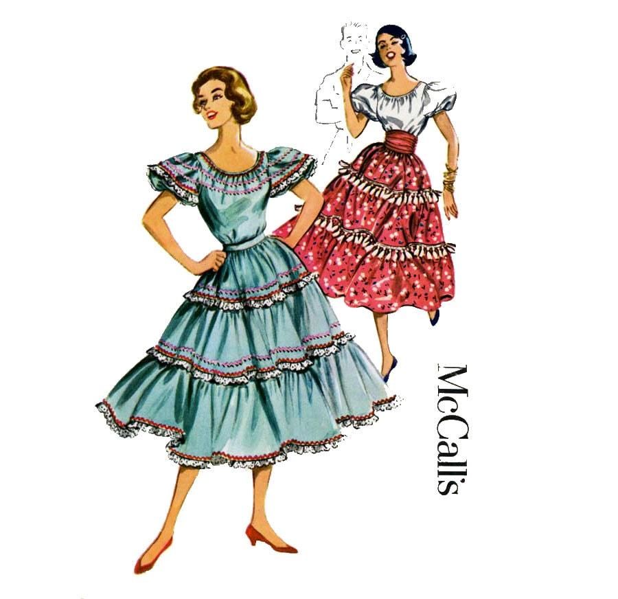 1950s Square Dance Costume Pattern Mccalls 4184 Misses Scoop