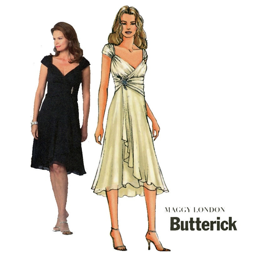 Evening Dress Pattern Butterick B4657 Misses Surplice Draped