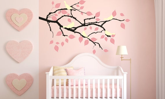 Tree Branch Vinyl Decal Sticker Wall Art Birds and Falling Leaves