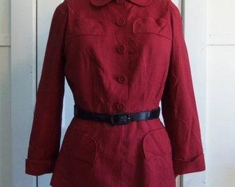 Red & Black Houndstooth Jacket / 1940s / small - medium