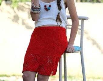 Red lace skirt Hand Knit Skirt Vintage skirt Summer Skirt Lace knit skirt Mini skirt Boho skirt sexy designer skirt Red knit skirt
