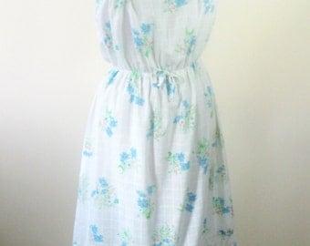 1970s White Sundress Strapless Blue Floral Womens Small Medium
