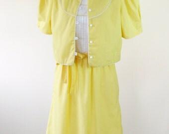 1980s White Yellow Sundress Jacket 3 Piece Set Pintuck Womens Extra Small